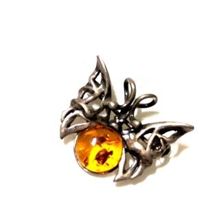 Vintage BAT pin brooch with stone